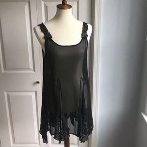 Free People Sheer Beaded Sleeveless Mini Dress